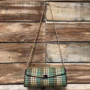 Handbags - Plaid straw green and orange round purse